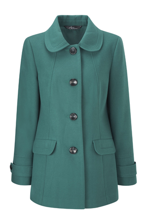 Faux Wool Mid Length Button Through Coat