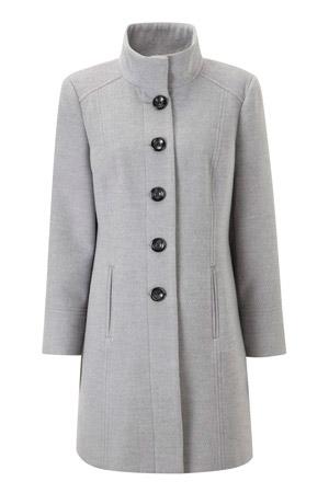 Long Faux Wool Funnel Neck Coat