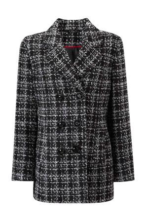 Mid Length Boucle Check Coat