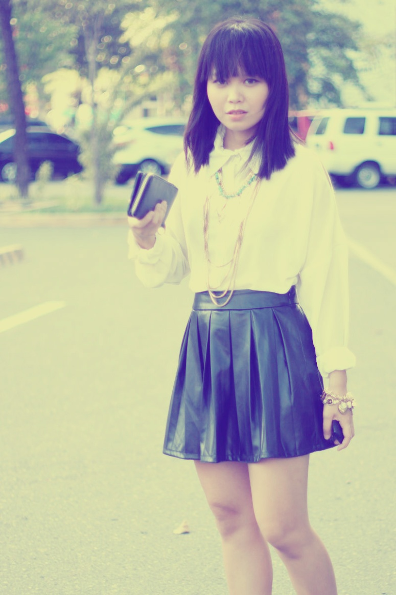 white shirt leather skirt 2