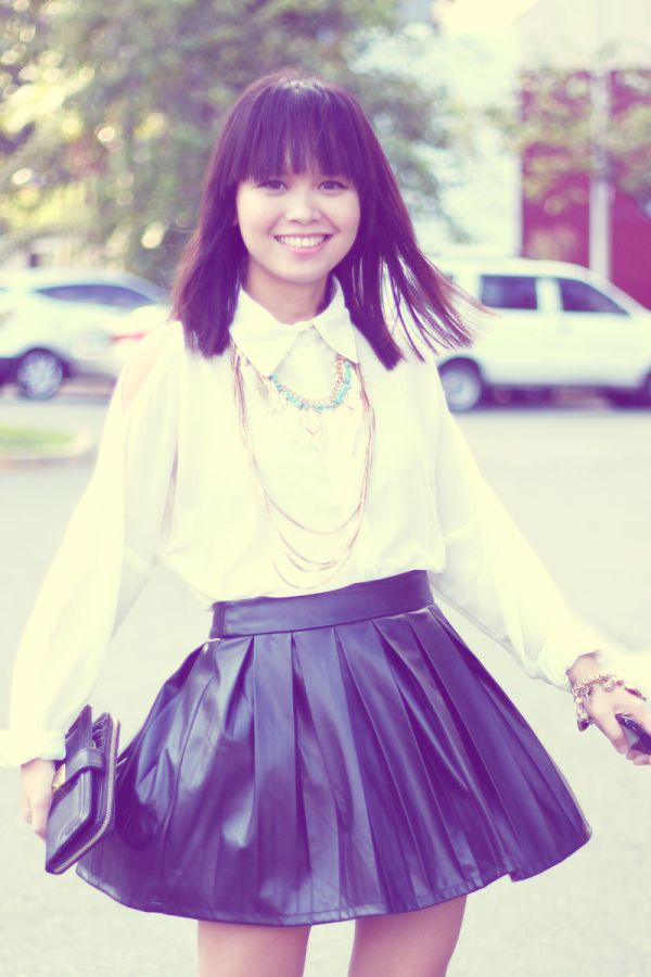 white shirt leather skirt 3