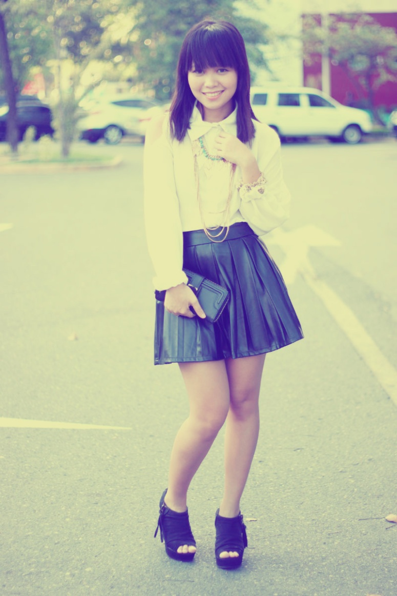 white shirt leather skirt 5