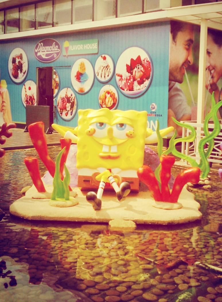 sponge bob sun bathing