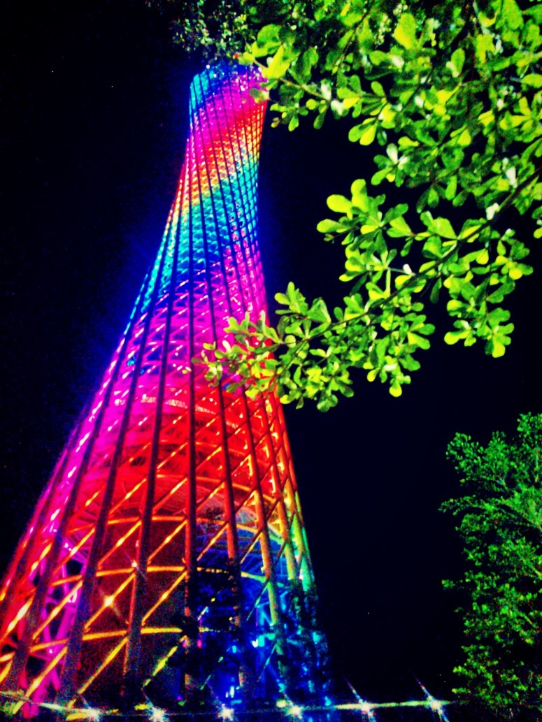 lights canton tower tree