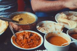 Various curries and naans