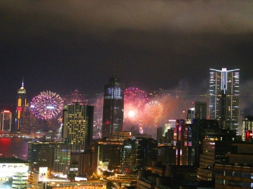 fireworks, firework display, hong kong, chinese new year, night time