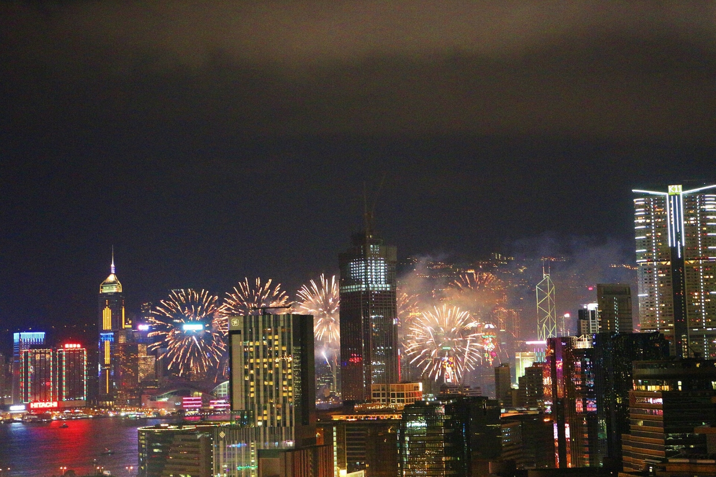 Hong Kong, night time, view, fireworks, firework display, chinese new year