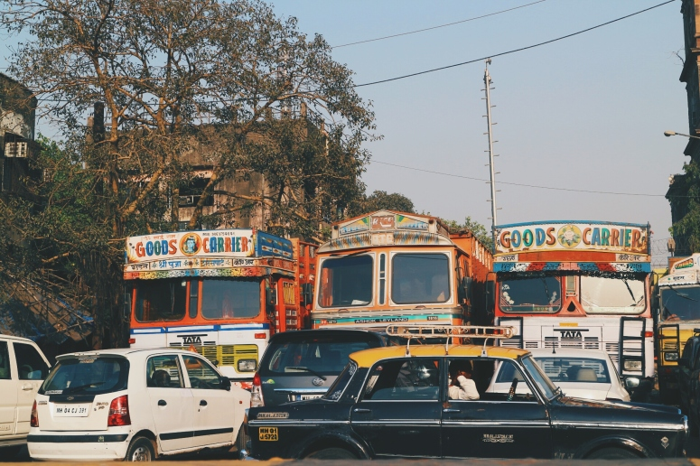 Colorful trucks and taxis in Bangalore, India