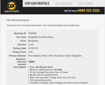 Rent a car service in India